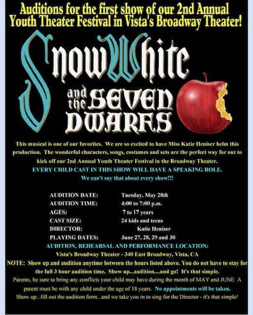 Auditions for Snow White and the Seven Dwarfs at Vista's